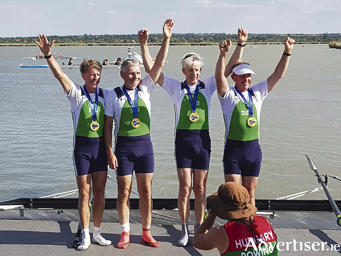 Winners: Denis Crowley, Gerry Murphy, Colin Hinter, and Adrian McCallion at the  annual World Rowing Masters Regatta in Hungary