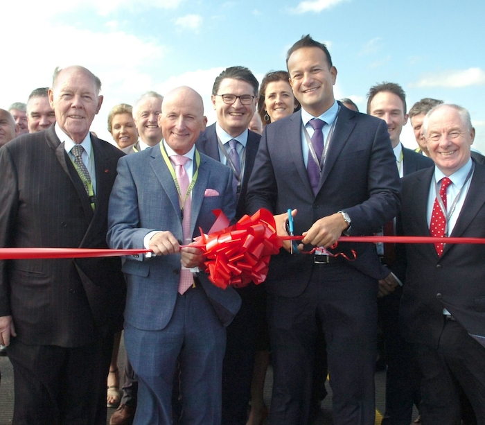 Pictured cutting the ribbon at the official opening of the newly resurfaced runway at Ireland West Airport were from left to right, Joe Kennedy, Honarary President, Ireland West Airport, Arthur French, Chairman, Ireland West Airport, Joe Gilmore, Managing Director, Ireland West Airport, An Taoiseach, Leo Varadkar, TD and Minister for Rural and Community Development, Michael Ring, TD