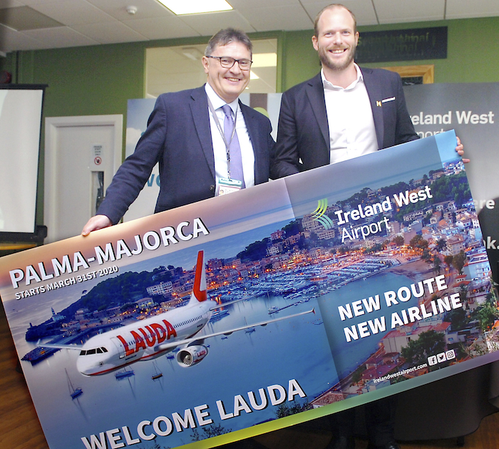 Pictured at the launch of a new Lauda service to Majorca from Ireland West Airport were Joe Gilmore, Managing Director, Ireland West Airport and Andreas Gruber, CEO, Lauda