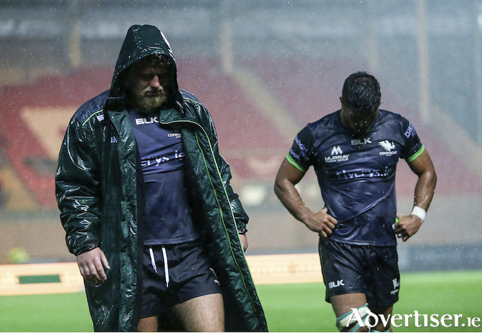 Finlay Bealham, and Jarrad Butler of Connacht following Connacht's loss to Scarlets last weekend. Photo: Sportsfile
