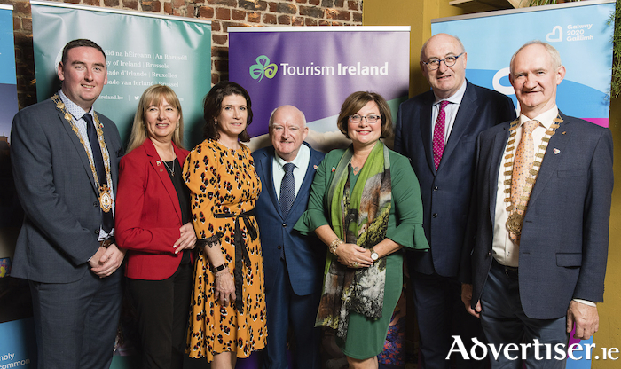Mike Cubbard, Mayor of Galway; Danielle Neyts, Tourism Ireland; Patricia Philbin, CEO Galway 2020; Cllr Declan McDonnell, Northern and Western Regional Assembly; Helena Nolan, Irish Ambassador to Belgium; Phil Hogan, EU Commissioner; and Cllr Jimmy McClearn, Galway County Council, at the launch of Galway 2020 in Frankfurt.