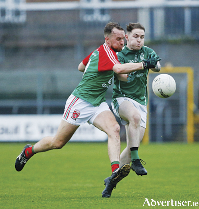 Garrycastle captain, Doron Harte in action against Mullingar Shamrocks in the senior football championship semi-final