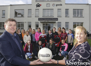 GTI's first ladies' football team with coach Anthony Finnerty and Betty Hernon, Galway Ladies Gaelic Football Association, at the launch of GTI Sláinte student health and wellbeing programme on Monday. Photo: Mike Shaughnessy.