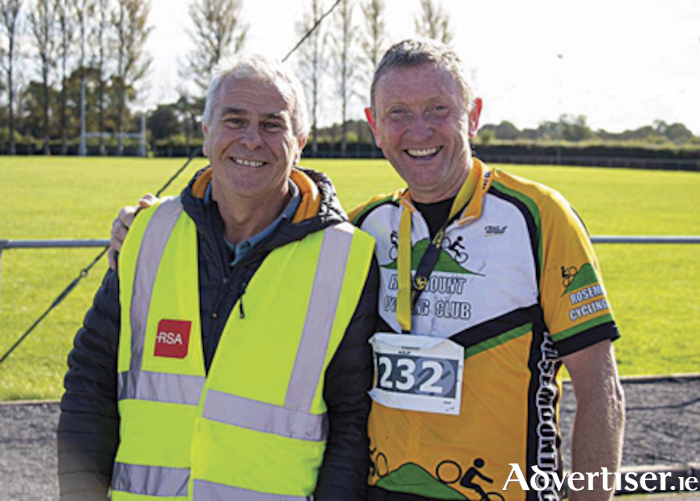 Volunteer, Martin Healy, is pictured with Pat Fox, following his completion of the half marathon event in Rosemount on Saturday morning