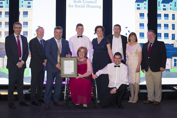 Pictured at  the Irish Council for Social Housing Community Housing Awards 2019 were back row: Donal McManus (ICSH CEO), Pat Doyle (ICSH Chairperson and CEO of the Peter McVerry Trust), George Lawlor, (Mayor of Wexford), Tony Cunningham (IWA), Rosaleen Lally (IWA), Eamon Murphy (IWA), Dolores Murphy (IWA), James Gleeson (Allianz). Front row: Teresa Gaughan, Julian Mahady (IWA) Photo: Arthur Carron