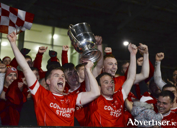 Champions celebrations:  Ballintubber celebrate winning the Mayo Senior Football Championship. Photo: Sportsfile.
