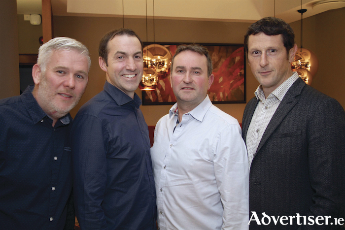 Performers Paul Noone, Pete Brady, Declan Madden, and Declan O'Brien at the launch of Astro-Nomic 2019 - the Carnmore LipSync Challenge. Photo:-Mike Shaughnessy