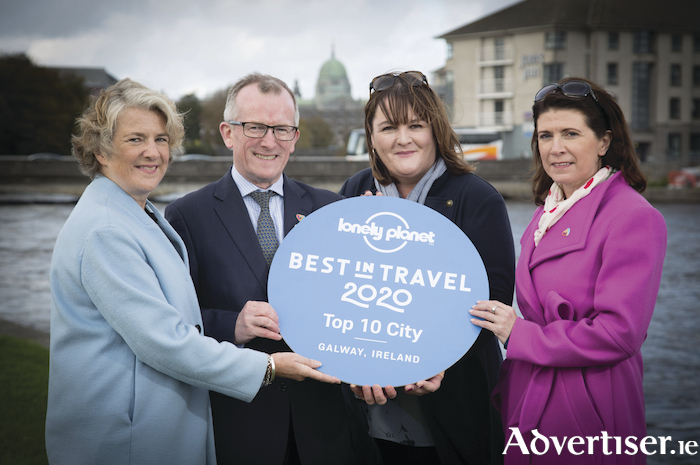 Pictured at the announcement are Bridgette Brew, Galway 2020; Niall Gibbons, CEO of Tourism Ireland; Nóirín Hegarty, VP Digital Content, Lonely Planet; and Patricia Philbin, CEO of Galway 2020, at the announcement Galway has been named the fourth best city in the world to visit in 2020 by Lonely Planet.