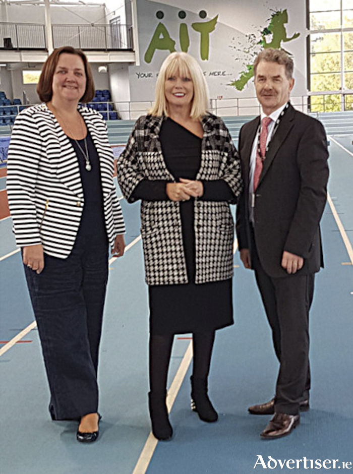 Senator Gab McFadden is pictured with Minister of State for Higher Education, Mary Mitchell O'Connor and Professor Ciaran O'Cathain, President, Athlone IT