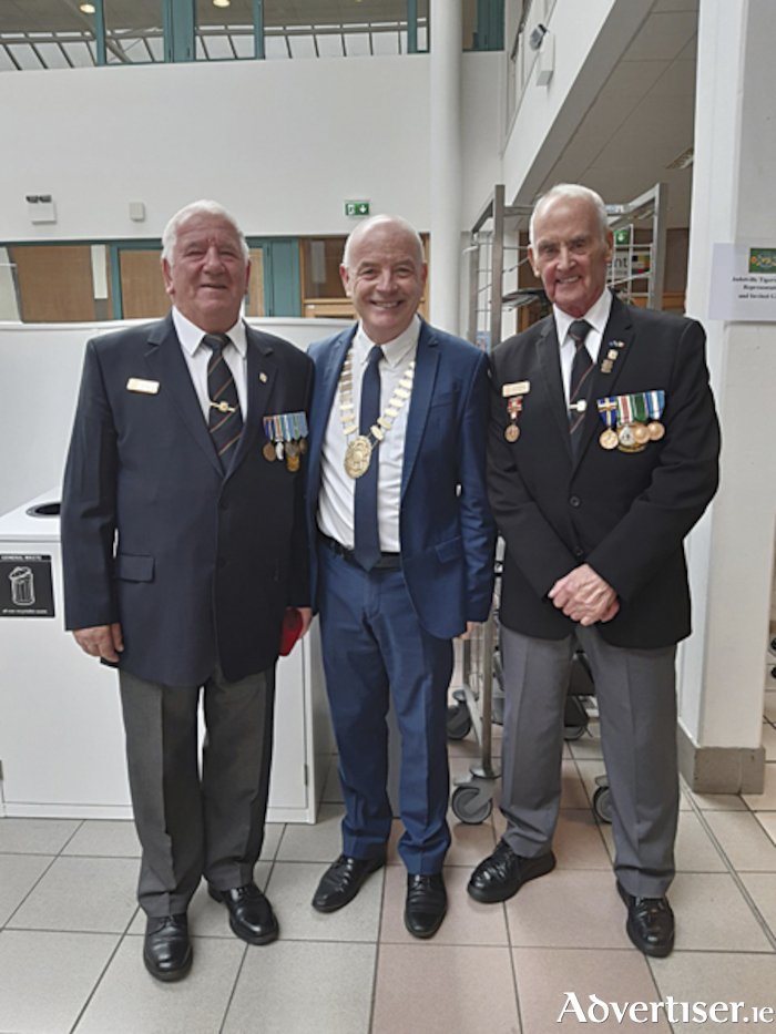 Town Mayor, Cllr. Frankie Keena, is pictured with Jim Cleary and Frank O'Brien at the Jadotville Tigers commemorative ceremony which took place in Athlone IT on Saturday