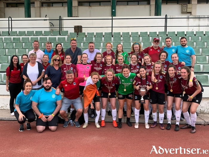 Galway WFC U17swith coaches, mentors, family and friends celebrat another success when winning the Lisbon Cup.