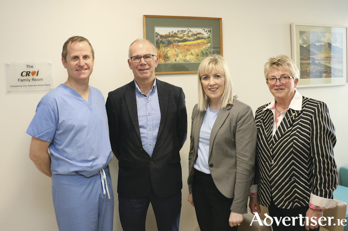 Dr Briain MacNeill, consultant cardiologist; Kevin O'Reilly, chairman, Croí; Chris Kane, general manager, Galway University Hospitals (GUH); and Geraldine Murray, director of nursing, GUH at the official opening of the Croí Family Room at the hospital's coronary care unit.