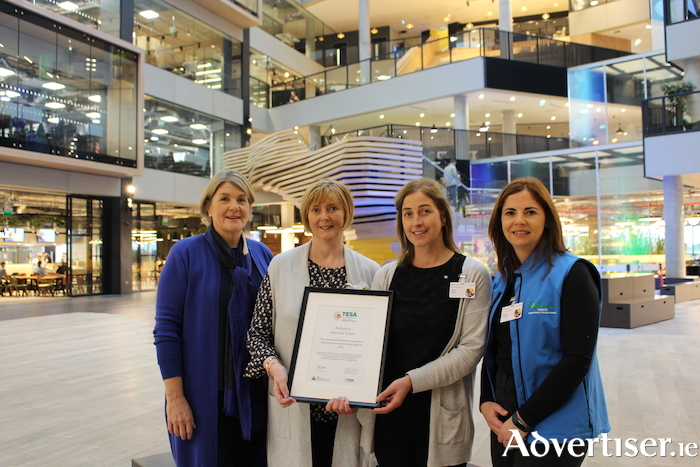 Helen Raftery, (CEO Junior Achievement Ireland), Ann Mullen and Sarah Wujiw (Ballindine NS) and Niamh Grealish, (Junior Achievement Ireland).