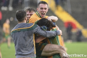 Jason Leonard of Corofin  celebrates after defeating Tuam Stars in the Claregalway Hotel Galway Senior Football Championship replay at Tuam Stadium on Sunday. 