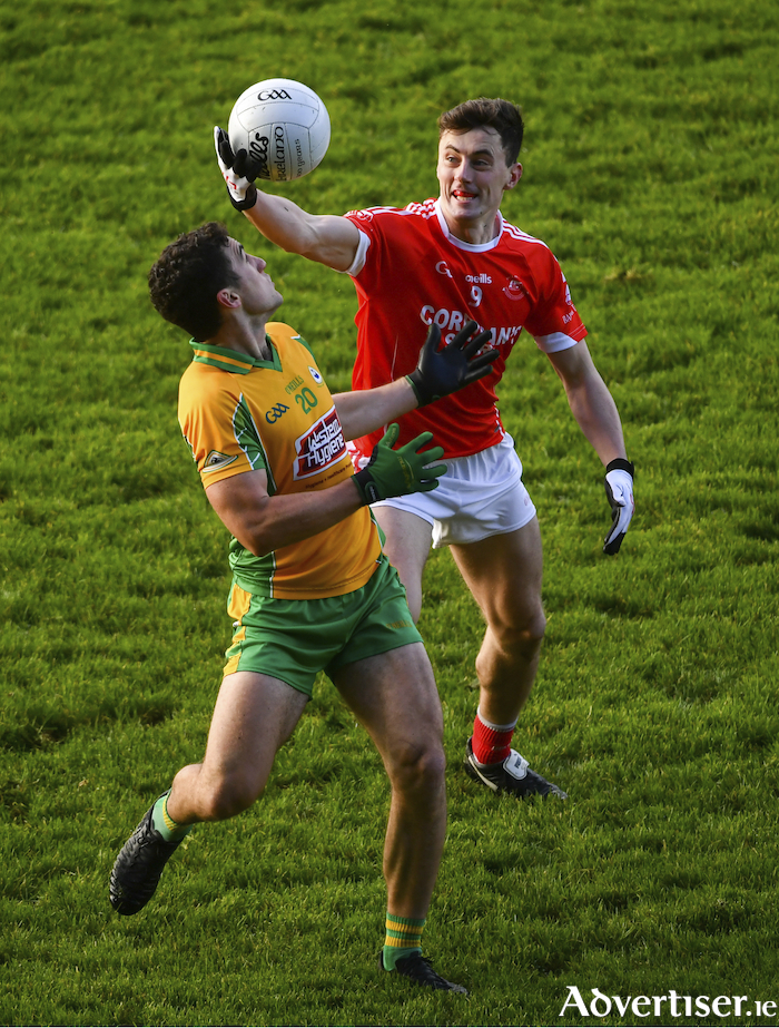 My ball: Diarmuid O'Connor and Daithi Burke of Corofin contest for the ball in last years Connacht Final meeting between Ballintubber and Corofin. Photo: Sportsfile
