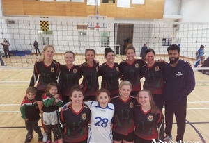 Up and running: The Mayo Volleyball Club squad ahead of their opening day win Back: Mikal O'Boyle, Hilde Kneblewski, Adriana Slovakova, Paulina Balik-Nowak, Edel Nolan, Ewilina Stefanovic, Deepak Kadyan (coach).  