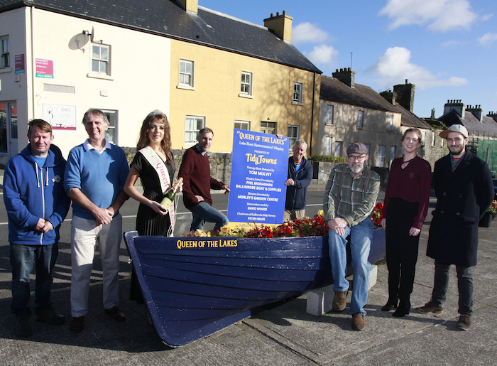 At the launch of the 'Queen of the Lakes' Lakes boat restoration and display presented by Ballinrobe Tidy Towns were members of the Tidy Towns Committee with the 2019 Queen of the Lakes Kelli Murphy. From left: Jimmy Morely (Chairman), Peter Heaps (Treasurer), Queen of the Lakes Kelli Murphy, Phil Monaghan (Ballinrobe Boat and Supplies), Paul McDonald (Deputy Chairman), Dave Woods, Melanie Brechlin, Marcel Brechlin. Photo:Trish Forde.
