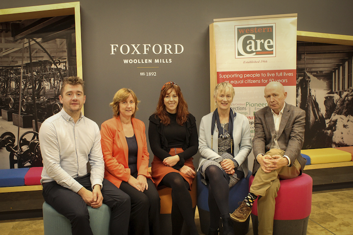 Pictured at the announcement of Foxford Woollen Mills choosing Western Care as their chosen charity were: Michael Flannagan (Western Care), Lucy Foley (Foxford Woollen Mills), Naomi Tiernan, Teresa Ward (Western Care) and  Joe Queenan (M.D. Foxford Woollen Mills).