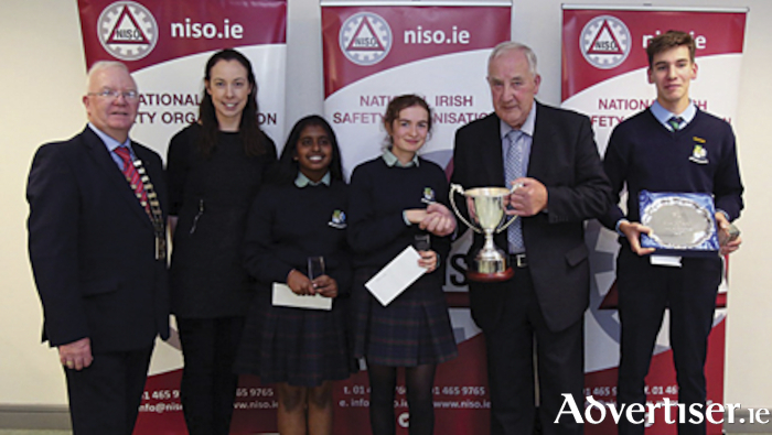 TY Safety Quiz the winning team with the John Flanagan Cup from Athlone Community School L to R : Mr Harry Galvin ( NISO President), Ms Nicola Burke ( ACC TY Coordinator), SnehaChhipa, Suzie Gavin , John Flanagan ( Chairperson of NISO Midlands) and NoaMoric.