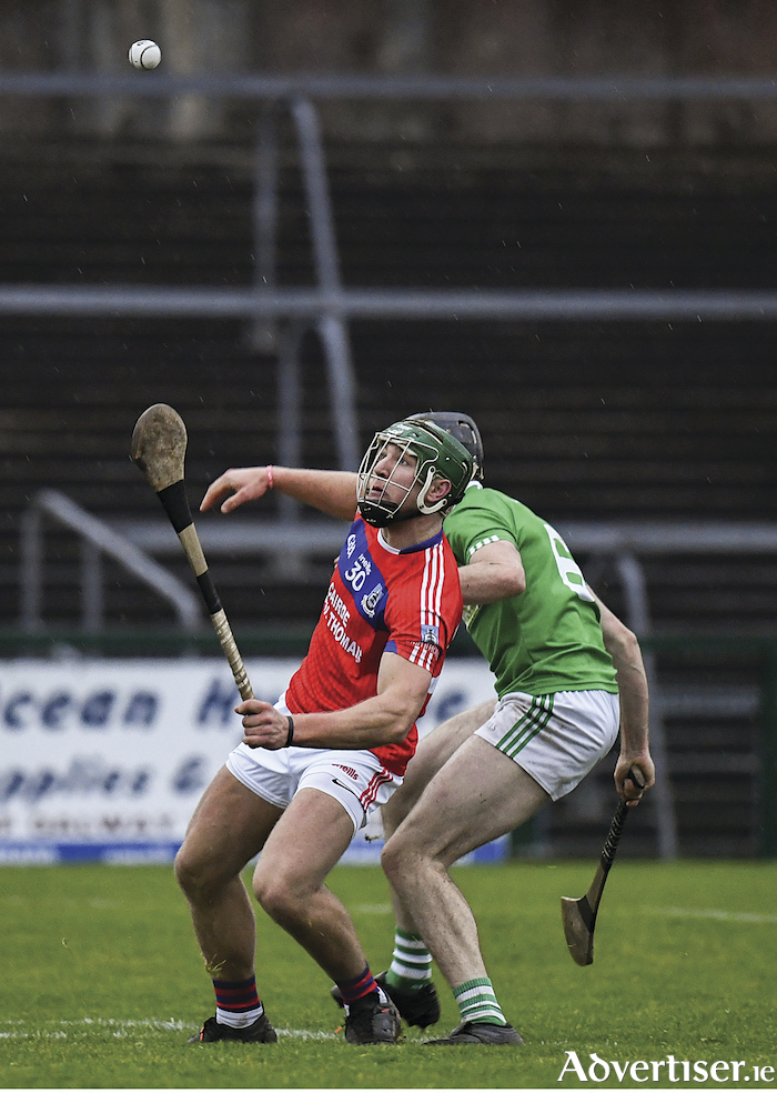 Goalscorer Fintan Burke of St Thomas. in action against Sean Morrissey of Liam Mellows at the Galway County Senior Club Hurling Championship final between Liam Mellows and St Thomas' at Pearse Stadium in Galway. 