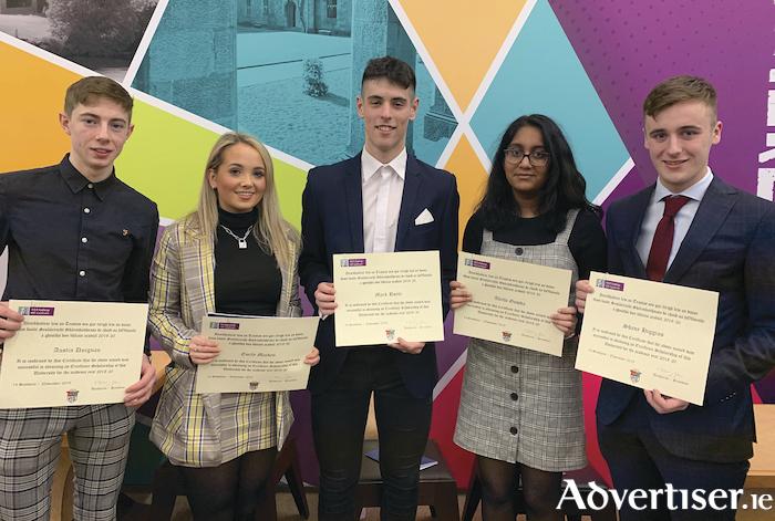 Yeats College Class of 2019 students receiving their Excellence Scholarships at NUI Galway. Pictured L-R Austin Duignan, Emily Macken, Mark Boyle, Adithi Gowda and Shane Higgins.