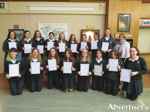 A group of Salerno secondary school students who are taking part in the Pope John Paul II Award. The girls received their training as ministers of the Eucharist in the Pastoral Centre, Newtownsmith recently.