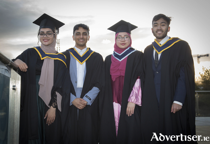 Nuzhafiq Noor Azman, Tuam, and Naqi Ahmad, Ballybane, who both graduated with a Bachelor of Science (Hons) in Computing in Software Development, Batrisyia Amiruddin (Malaysia), who graduated with a Bachelor of Arts in Hotel and Catering Management, and Tahreem Shakeel, Ballinrobe, who graduated with Bachelor of Science Computing and Digital Media, pictured at the recent GMIT Conferrings in the Galmont Hotel, Galway. Photo: Aengus McMahon