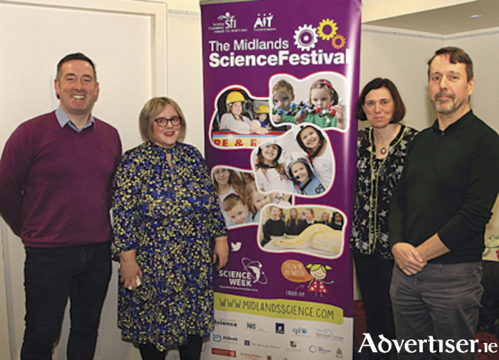 Dr. Craig Slattery, (UCD and Midlands Science Chairperson), Jackie Gorman, CEO of Midlands Science, Professor Gillian O Brien and Rory Duffy at the 'Travels in Chernobyl' talk which was held as part of the annual Midlands Science Festival and National Science Week.