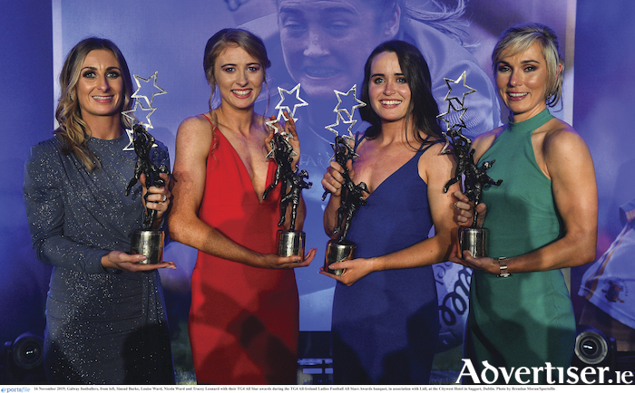 Galway footballers, Sinead Burke, Louise Ward, Nicola Ward and Tracey Leonard with their TG4 All Star awards during the TG4 All-Ireland Ladies Football All Stars Awards banquet at the Citywest Hotel, Dublin. Photo:  Brendan Moran/Sportsfile