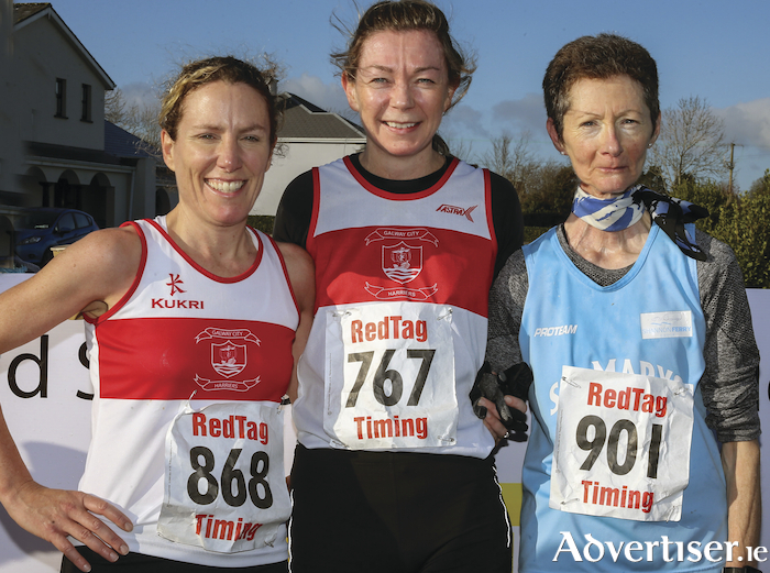 Top three women in the Ballinderreen 10k: L to R Neasa De Burca, GCH, winner, second Sinead Foran, GCH, and third Rita Keirce, St Mary's. 