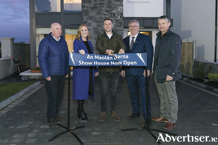 Martin Lynch, Triona Barrett and Fergal Downes, all Edward Capital, and Shane Heskin of Heskin Auctioneers with Jack Carty, Connacht Rugby player at the launch of An Maolan in Barna, Co Galway. Photo: xposure.