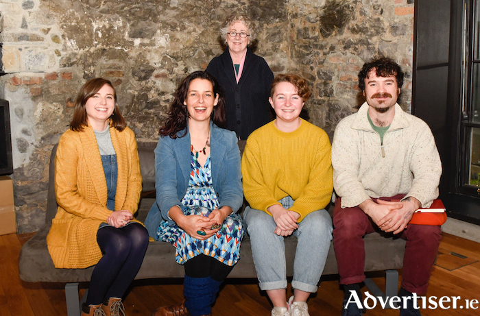 Druid FUEL artists Claire Mullane, Johanne Webb, Annie Keggan, and Barry Cullen, with Garry Hynes. Photo:- Boyd Challenger