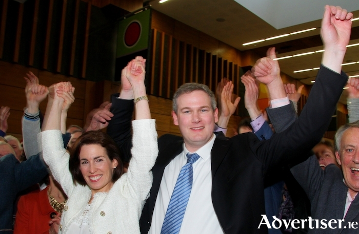 TDs Hildegarde Naughton and Sean Kyne celebrating their election victory in 2016. Will they be returned in 2020? Photo:-Mike Shaughnessy