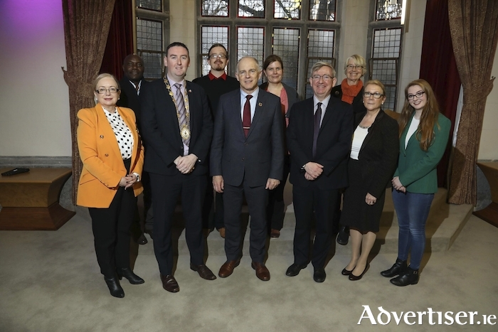 Pictured (left to right) at the designation of NUI Galway as an official University of Sanctuary, were Imelda Byrne, Joseph Nyirenda, Mayor Mike Cubbard, Aidan Harte, David Stanton (Minister of State for Equality, Immigration and Integration) Vicky Donnelly, Ciaràn Ó hÓgartaigh, Tiffy Allen, Anne Scott, and Clare Austick.