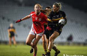 Katelyn Mee of Kilkerrin-Clonberne and Sile O'Callaghan of Mourneabbey during the All-Ireland Ladies Senior Club Championship final  at LIT Gaelic Grounds in Limerick. Photo by Eoin Noonan/Sportsfile