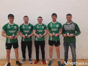 The Moycullen handball champions:  Martin Mulkerrins, Séamus Conneelly, Conor Noone, Diarmuid Mulkerrins, and Darragh Mulkerrins (sub).