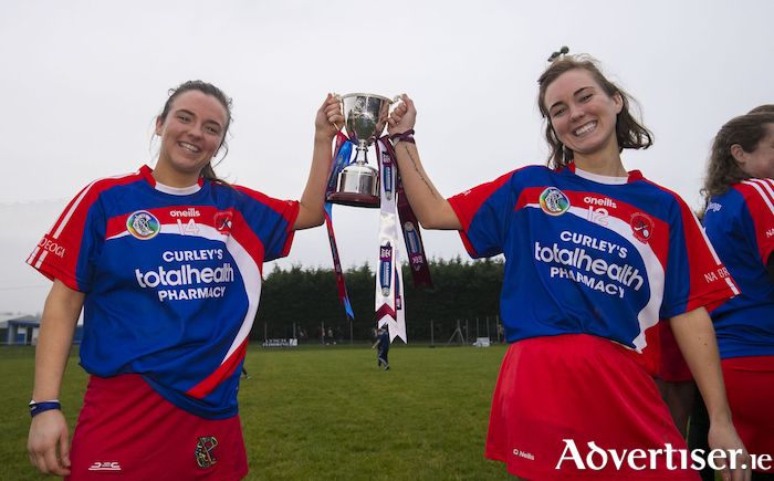 Champions: Mairead Charlton and Aine Charlton celebrate winning the All Ireland Camogie Junior B Championship last weekend. Photo: Inpho