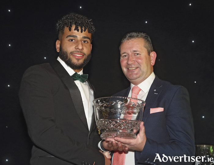 "Jordan Loftus, Castlebar Celtic is presented with the  ""Footballer of the Year 2019"" by Gerry Tully Administrator Connacht FA at the Mayo Football League Annual Presentation Dinner and Awards Night in the Castlecourt Hotel Westport. Photo: Michael Donnelly"
