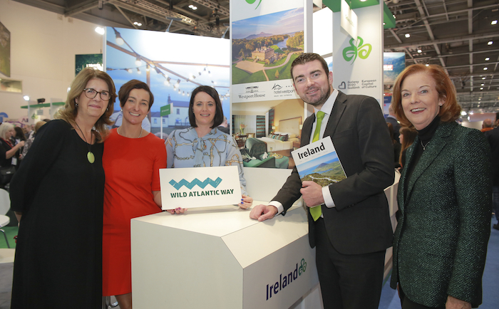 Julia Marten, (The Travel Corporation); Biddy Hughes, (Westport House); Eithne Cosgrove (Hotel Westport); Tourism Minister Brendan Griffin TD; and Joan O'Shaughnessy, (Chair of Tourism Ireland), at World Travel Market in London.