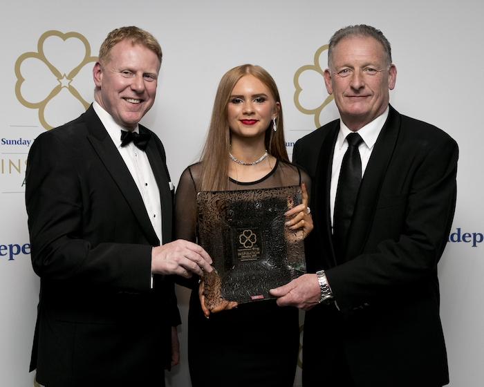 Gary Desmond (CEO Gala Retail), with winner of Ireland's Inspirational Young Person, 15 year old Sophia Shally, and Gerry Lennon, (Commercial Director, INM). Photo: Iain White / Fennell Photography 2019
