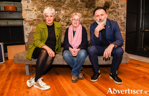 Helen Marriage (creative director, Galway 2020) and Tommy Tiernan with Garry Hynes at the launch of Druid's 2020 programme at The Mick Lally Theatre.