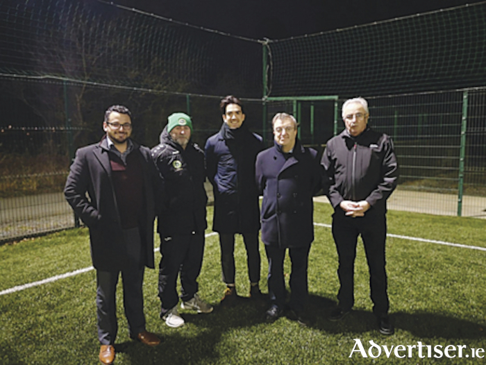 Pictured at St. Peter's FC were, l-r, Padraig Hegarty, Barry Toland, Senator Fintan Warfield, Micheal MacDonnadh, Sean Barr.