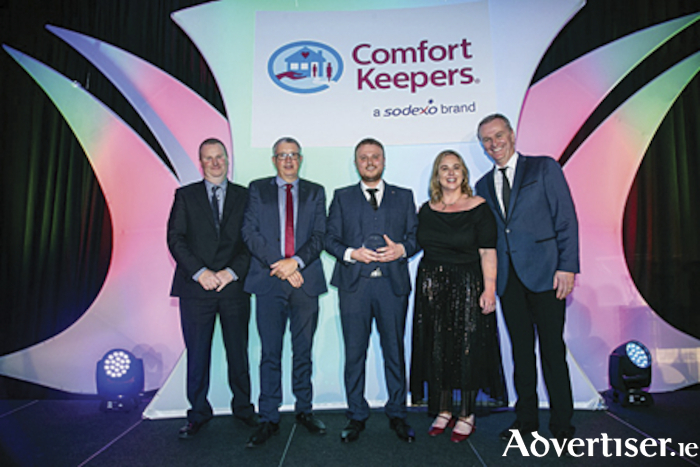 Chief People Officer, David McGoldrick, Comfort keepers Chief Financial Officer, Brendan Ferguson, Comfort Keepers 'Support Function of the Year 2019', Vlad O'Neal, Comfort Keepers Chief Operating Officer, Collette Gleeson, and host and RTE Presenter Dáithí Ó Sé at the national Comfort Keepers CK Stars Awards 2019 gala in Kilashee House Hotel, Co. Kildare, on Friday evening.
