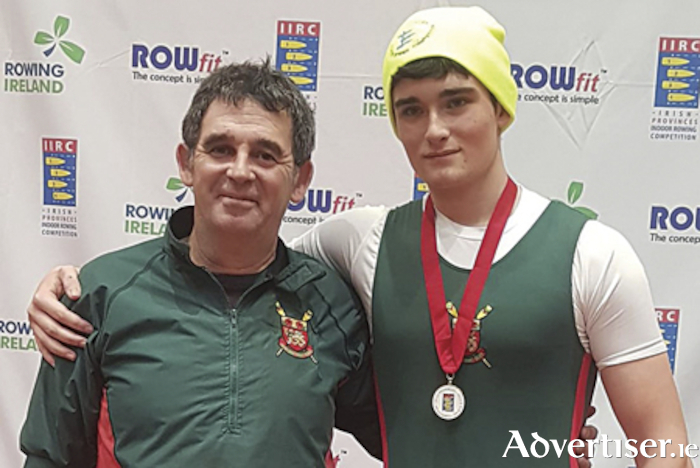 Athlone Boat Club junior member, Cian Scanlon, is pictured with coach, Don Egan