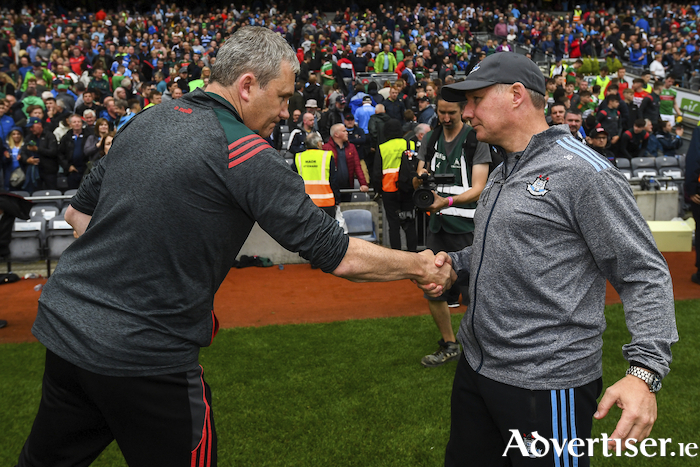 On the way out: James Horan shakes hands with Jim Gavin after Dublin's win over Mayo this Summer in the All Ireland semi-final. Photo: Sportsfile