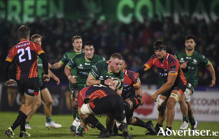 On the charge: Finlay Bealham of Connachtm supported by Denis Buckley, Kyle Godwin, Jack Carty and Colby Fainga'a, against the Isuzu Southern Kings at The Sportsground in Galway, before heading to Gloucester for Sunday's Champions Cup third round.