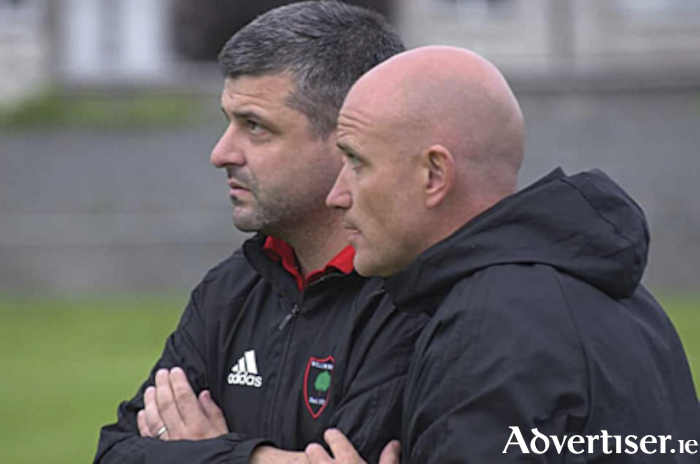 Willow Park joint managers, Declan Holohan and David McGuinness.  The club's Leinster Senior League team are presently placed second in Sunday Division 1A and can attain table supremacy with a home win over Collinstown this weekend