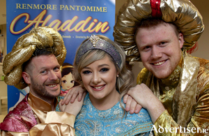 Declan J Gardiner, Jenny Flaherty, and Nathan Mannion, who will star in the Renmore Pantomine production of Aladdin this Christmas. Photo:- Mike Shaughnessy