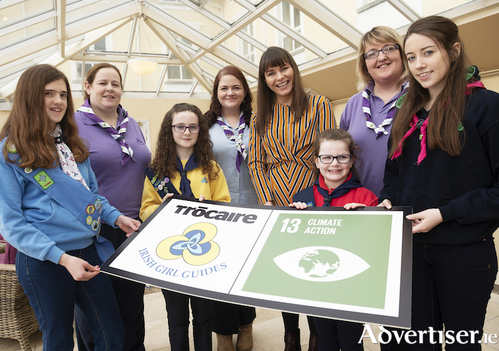 Helen Concannon (second from left) pictured with local members of Irish Girl Guides at the launch of the Climate Action badge, which was developed in partnership with Trócaire. The launch took place in February 2019 at the Galway Bay Hotel, Salthill.