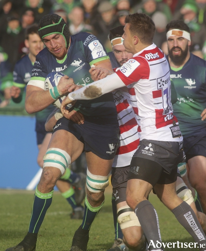 Connacht'a Ultan Dillane in action from the Heineken Champions Cup game against Gloucester at the Sportsground on Saturday.